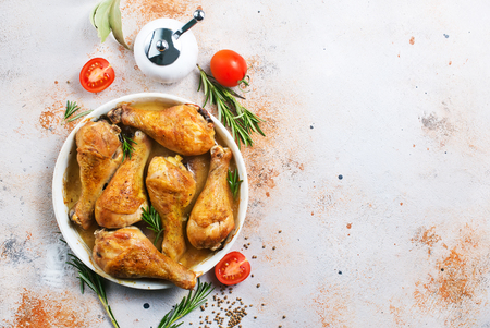 baked chicken legs with aroma spice and salt