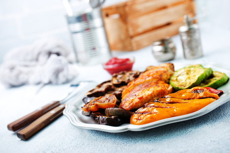 Homemade chicken breast barbecue. Delicious chicken barbecue and grilled vegetables for lunch or dinner