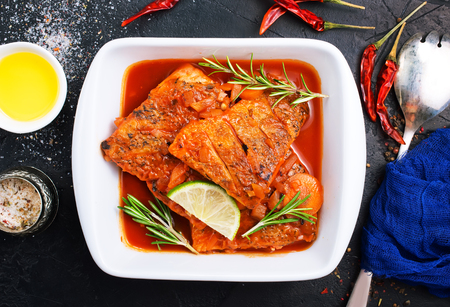 fish with tomato sauce and aroma spices Banco de Imagens