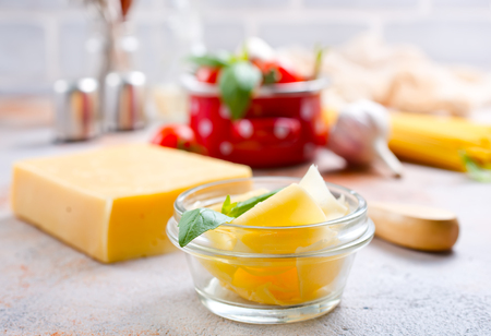 cheese in glass bowl, cheese and basil