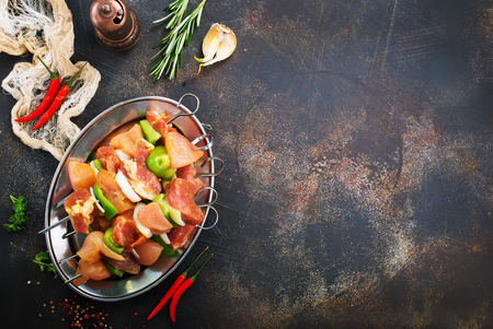 raw chicken kebab with fresh vegetables, diet food Stock Photo