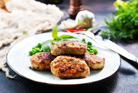 fried cutlets with green pea, cutlets with pea