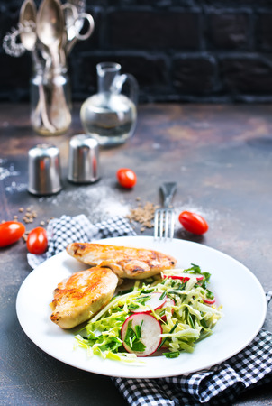 salad with grilled chicken breast, diet food, stock photo Stock Photo