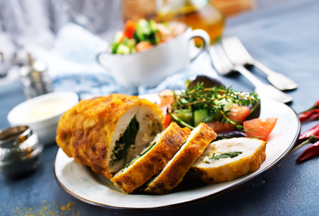 backed chicken roll with spinach and cheese