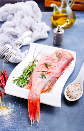 raw fish with aroma spice and salt, ocean perch on white plate Reklamní fotografie - 104299407