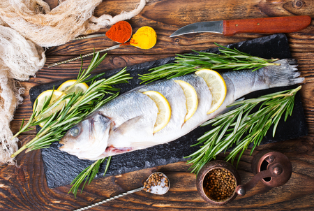 Fish,raw fish, fish with salt and spices Banco de Imagens