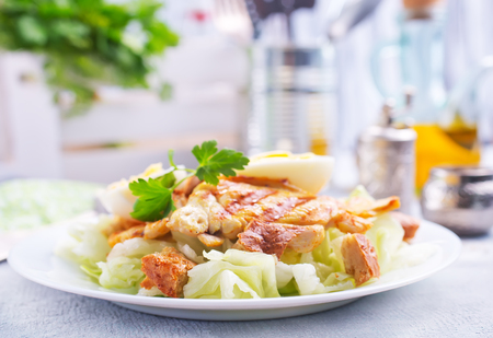 salad with vegetables and baked chicken, diet food