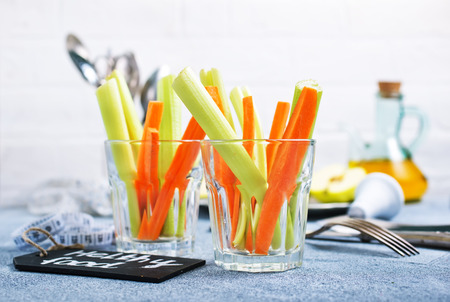 diet food, fresh celery and carrot in the glass Stock Photo