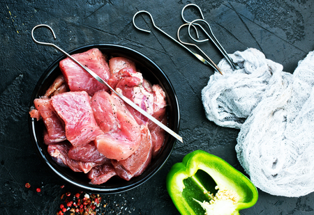 raw kebab, raw meat for kebab with spice