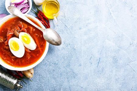 beet soup with boiled egg, fresh soup