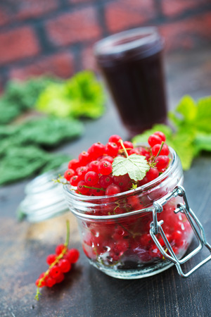red currant in glass on a table