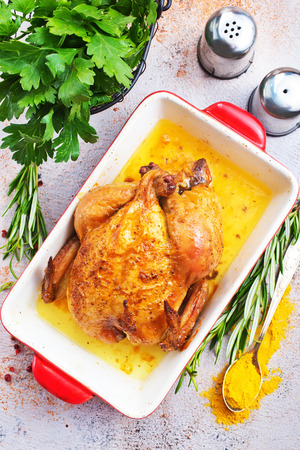 baked chicken in bowl on a table