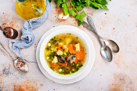 fresh soup with mushrooms in bowl, fresh vegetable soup 写真素材