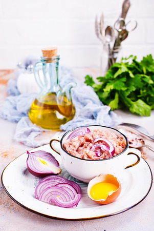 Ingredients for cooking cutlets, meatballs-minced beef meat Stock Photo