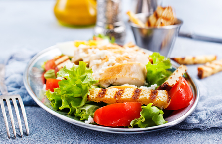 caesar salad, fresh salad with vegetable and chicken