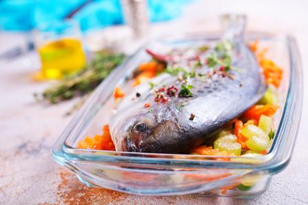 raw fish with fresh vegetables, raw dorado