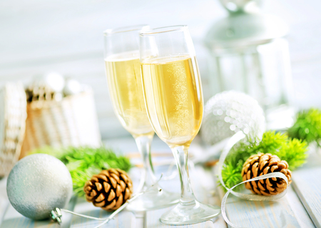 Christmas decoration and champagne