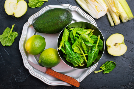 Green food, diet food, vegetables and fruits on plate