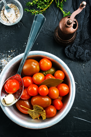 Homemade pickled tomatoes, pickled tomato in bowl