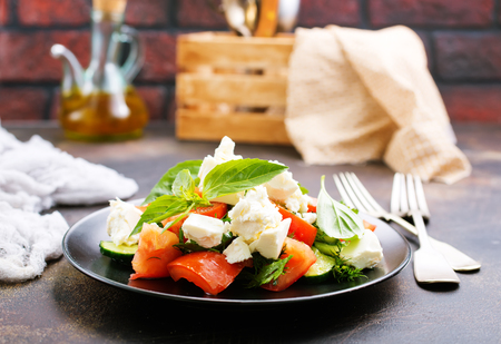 greek salad with fresh ingredient on plate Stock Photo