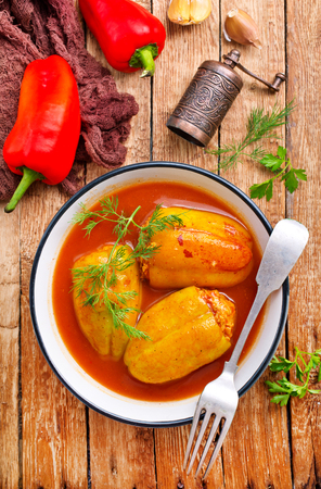 pepper stuffed with minced meat with tomato sauce Stockfoto