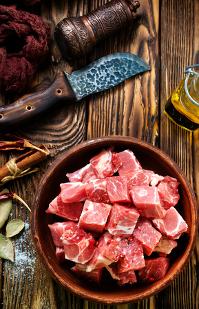 raw meat, meat in bowl, uncooked meat