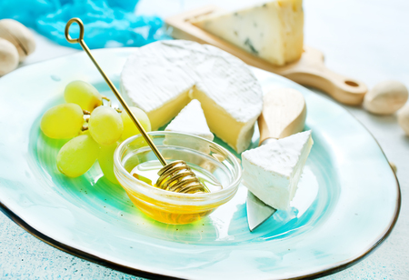 cheese with grape honey, cheese with nuts and honey