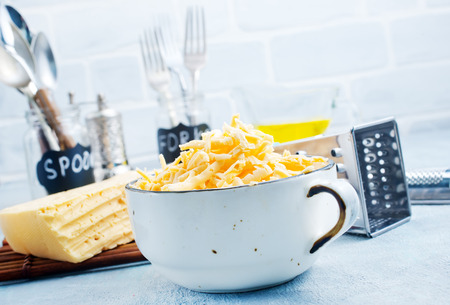 grated cheese in bowl on a table