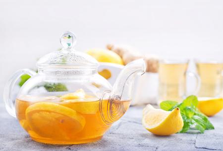 fresh tea with lemon and fresh mint