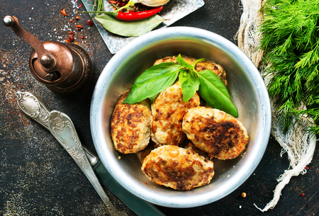 fried cutlets, chicken cutlets in metal bowl
