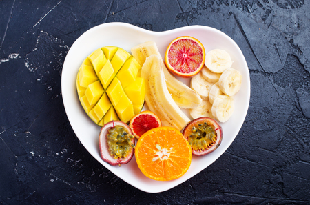 Healthy and fresh fruits on a plate Stock Photo