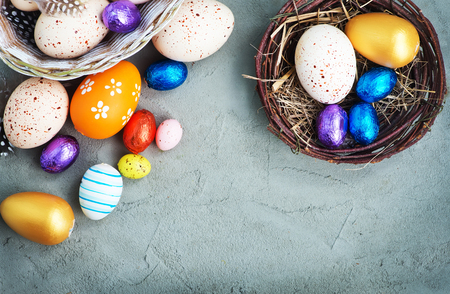 easter eggs on a table, easter background