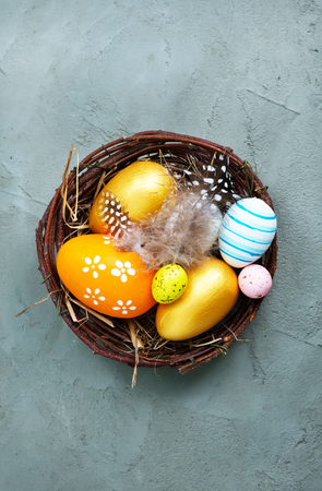 color easter eggs on the table, easter background