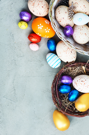 easter eggs on a tabble, easter background Stock fotó