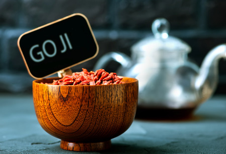 dry goji in bowl and on a table