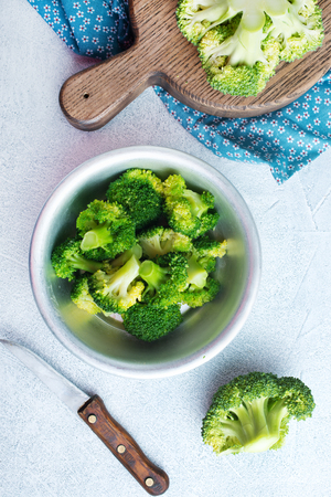 broccoli in white bowl on a table