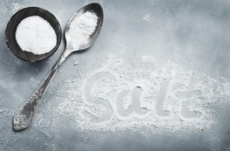 salt on a table, white sea salt 写真素材