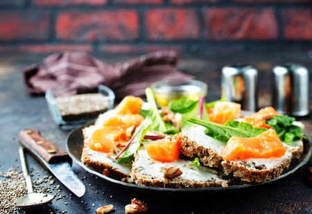 bread with crem cheese and salmon fish