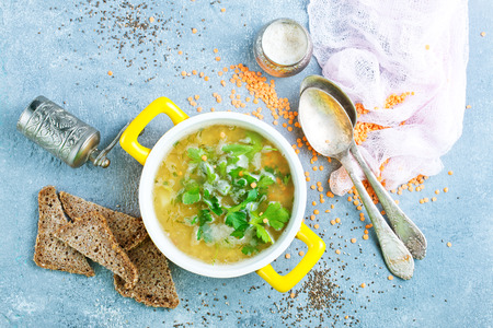 fresh soup with yellow lentil in bowl