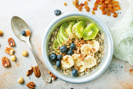 Breakfast: oatmeal with banana, nuts, chia seeds