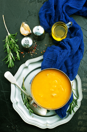 pumpkin soup in bowl, soup with aroma spice, diet food