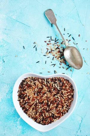 Mixed organic raw rice, raw rice background