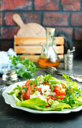 salad with cheese and tomato, diet food, tomato salad with feta
