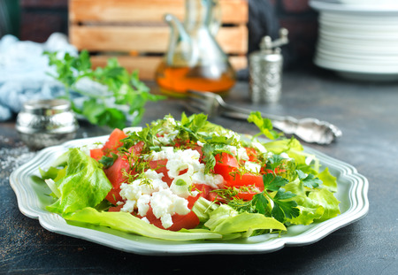 salad with cheese and tomato, diet food, tomato salad with feta Archivio Fotografico - 121595157