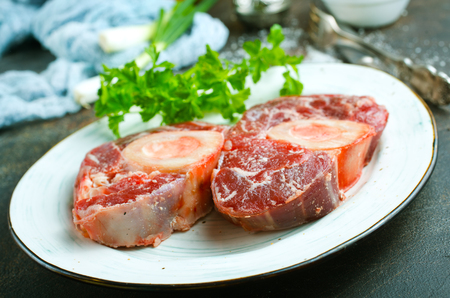 raw meat with salt and aroma spice
