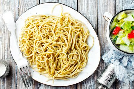 spaghetty with pesto sauce, boiled spaghetty on plate Stock fotó