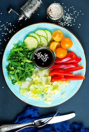fresh vegetables for salad, vegetables with sauce