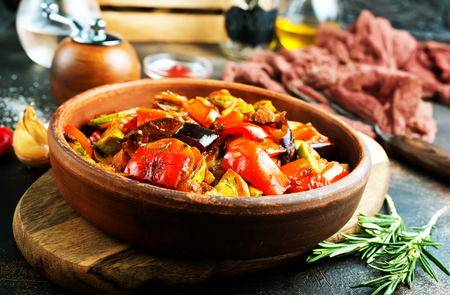 baked vegetables in bowl on a table Stock Photo