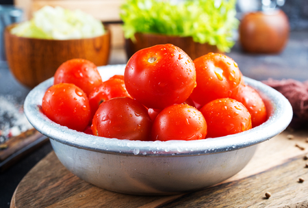 fresh red tomatoes in metal bowl, tomato for salad