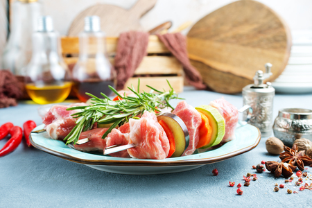 raw kebab with meat and vegetables , meat kebab with eggplant and other vegetables Stock Photo - 123144772